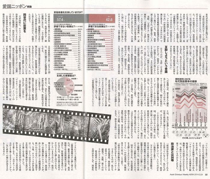 【雑誌】3/17(月)発売「AERA」 代表理事 駒崎『距離をとり始めたロスジェネ』に掲載